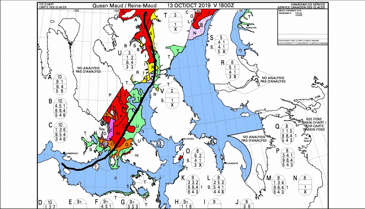 Ship routes are planned on the basis of ice maps, satellite images that are taken several times a week, photos of aircraft that cross the area and observations of local ships.
